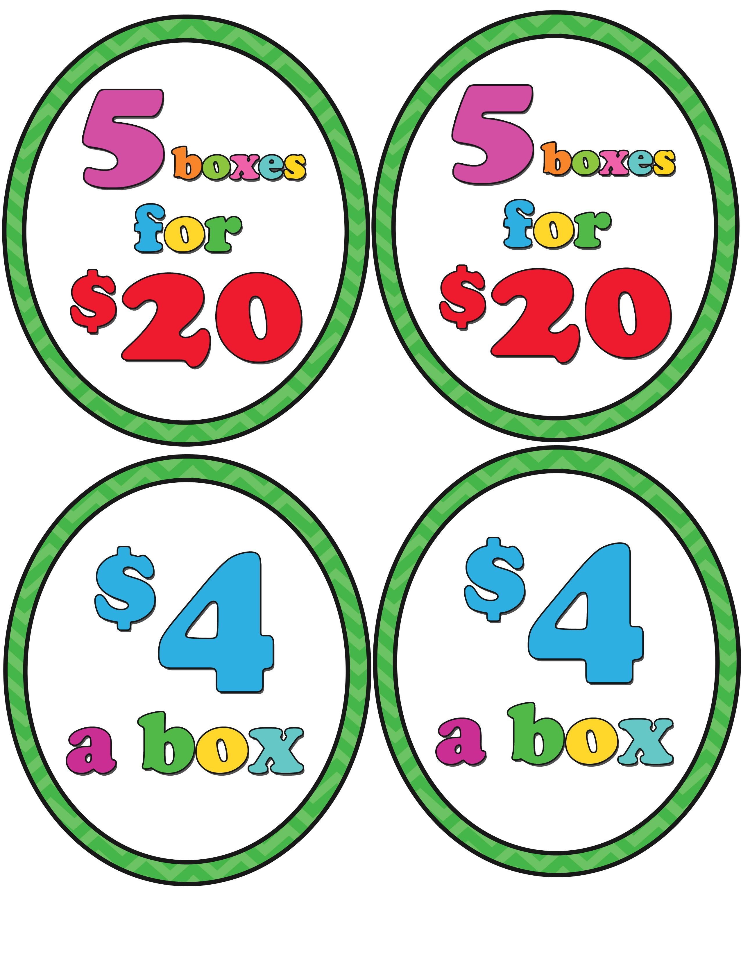 Girl Scout Cookie booth price printables. $4 a box, 5 boxes.