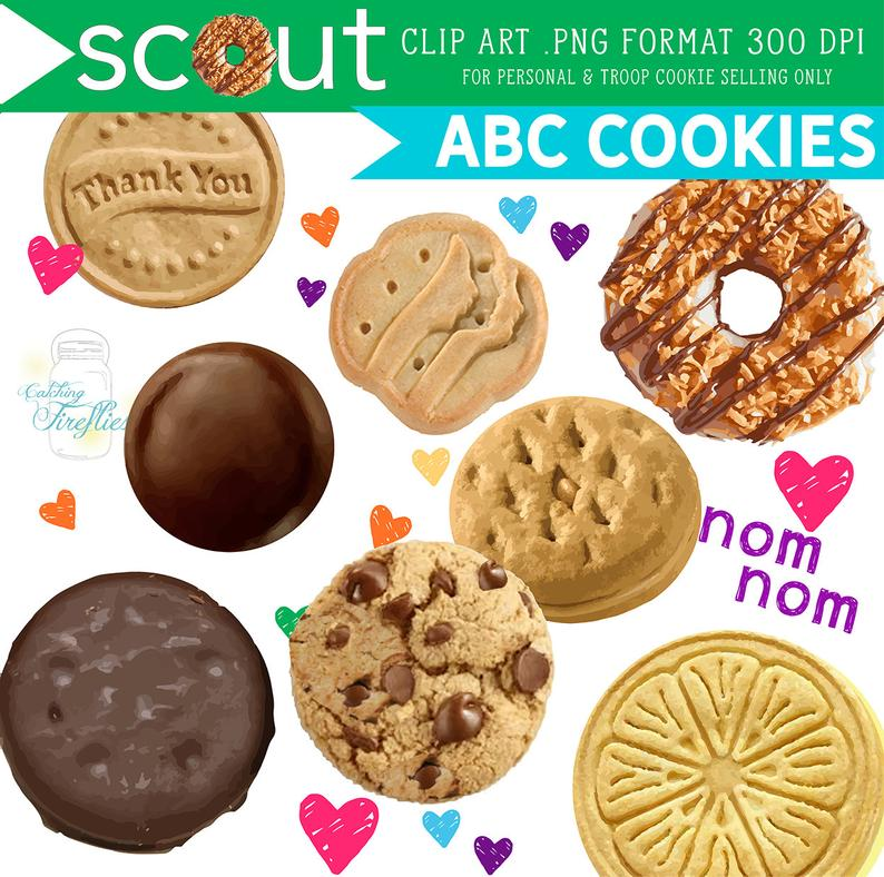 Girl Scout Cookie CLIP ART ABC, 2019 Cookie + Donate to the Troops Poster,  Plus Adorable Extras.