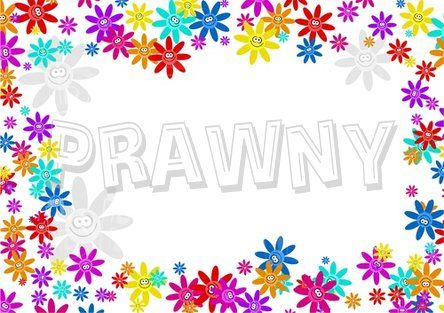 Happy Daisy Flower Page Border Prawny Frame Clip Art.