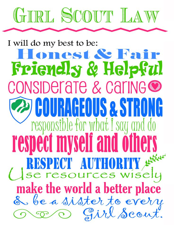 Satisfactory image regarding girl scout promise and law printable