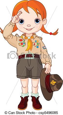 Clipart Vector of Boy scout girl doing a hand sign.