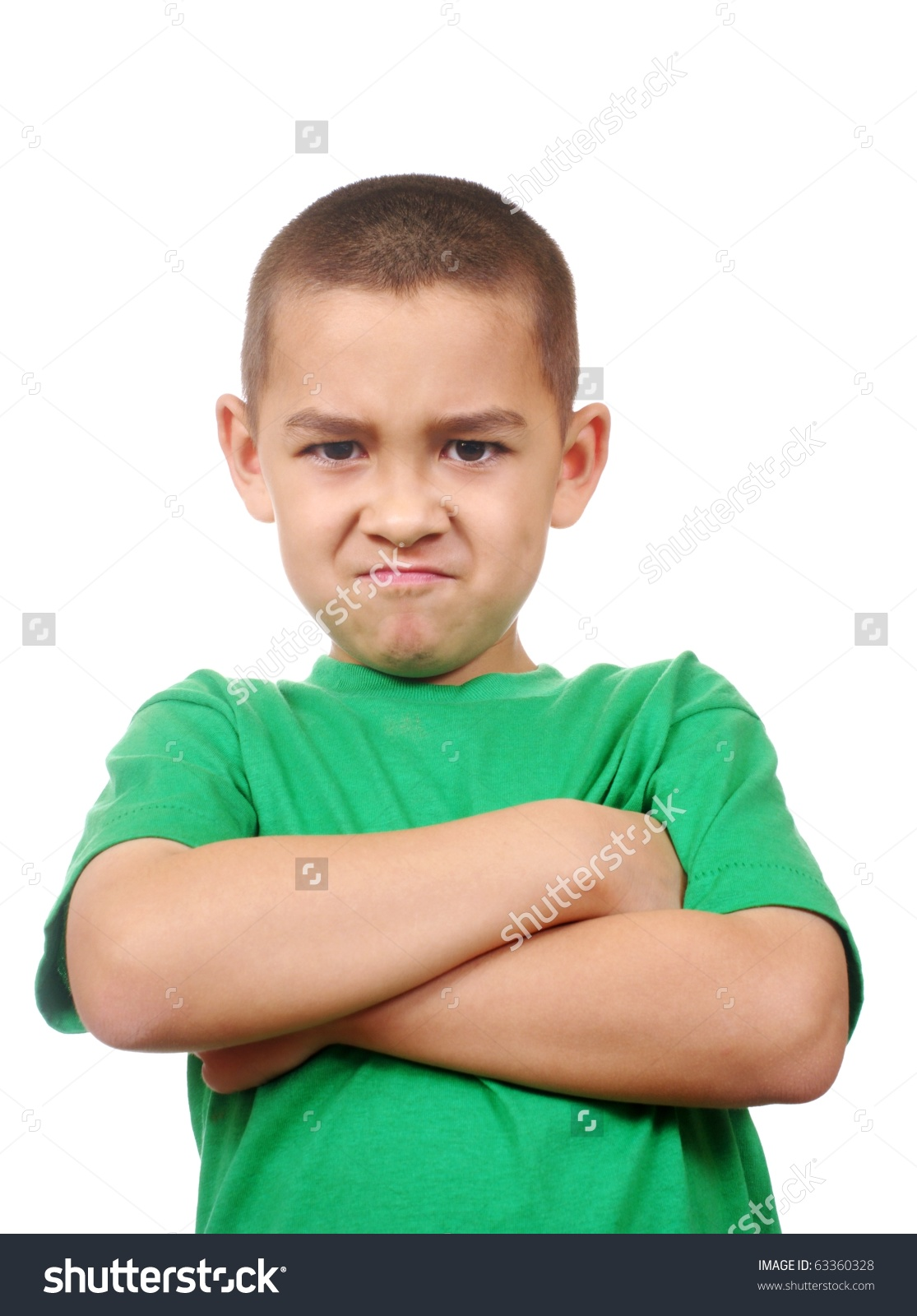 Kid Looking Down Scowling Angry Arms Stock Photo 63360328 in.