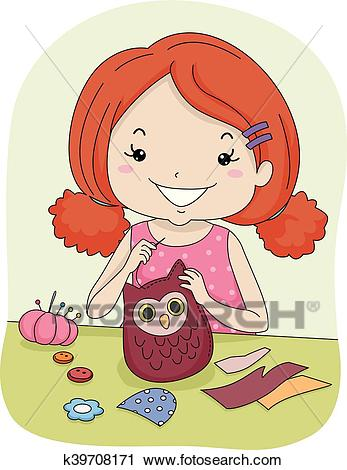 Kid Girl Sew Owl Pattern Clipart.