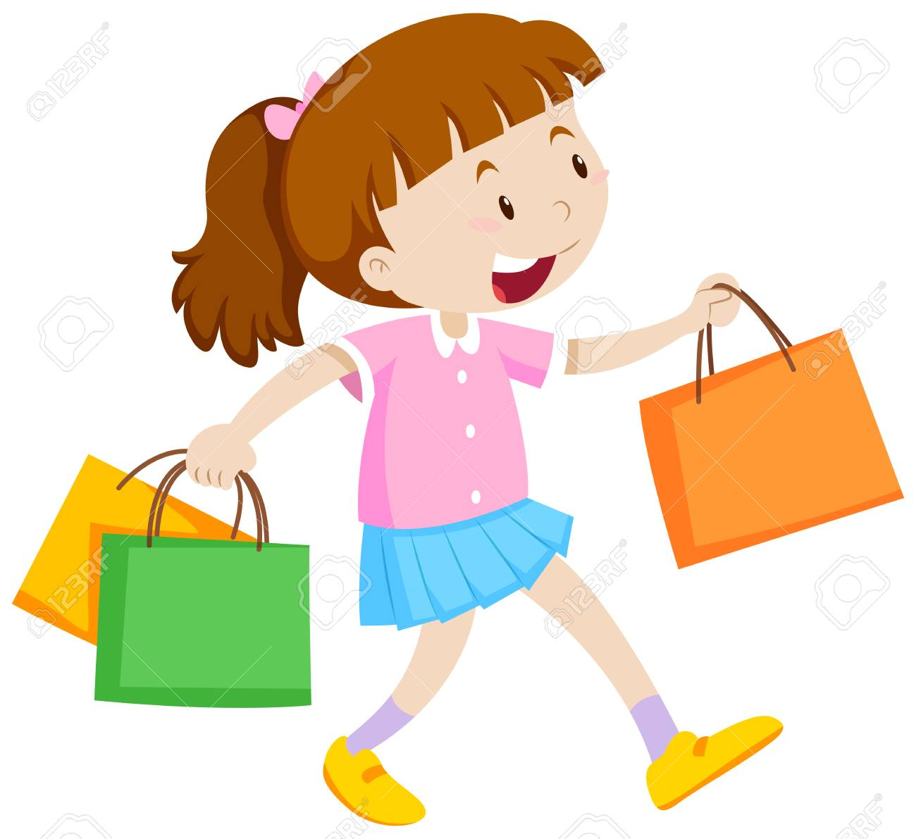 Little girl with three shopping bags illustration.
