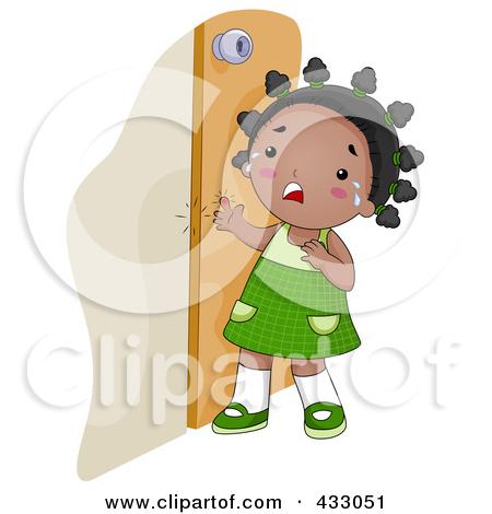 Girl Shutting Door Clipart.