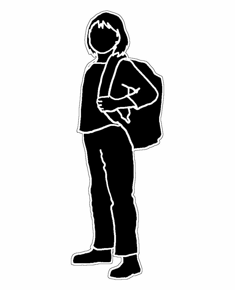 Black Outline Silhouette, School Girl Black White,.