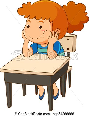 Girl sitting at the desk.