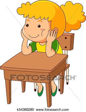 Girl sitting on wooden desk Clipart.