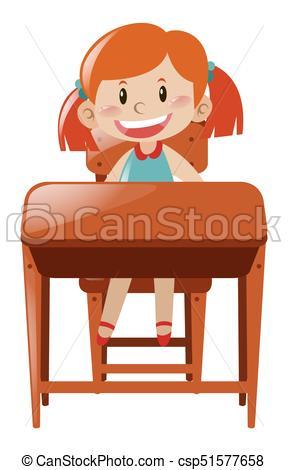 Little girl sitting on desk.