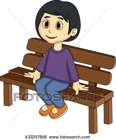 Little girl sitting on a bench Clip Art.
