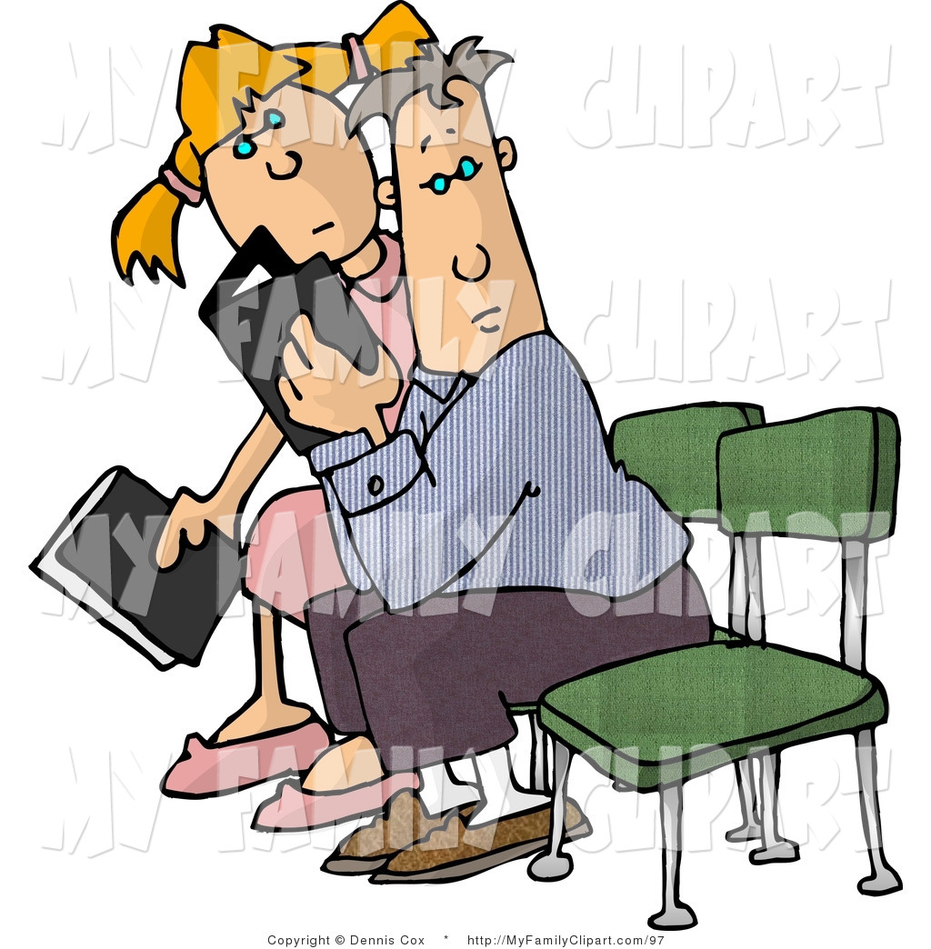 Clip Art of a Boy and Girl with Books Sitting in a Waiting Room by.