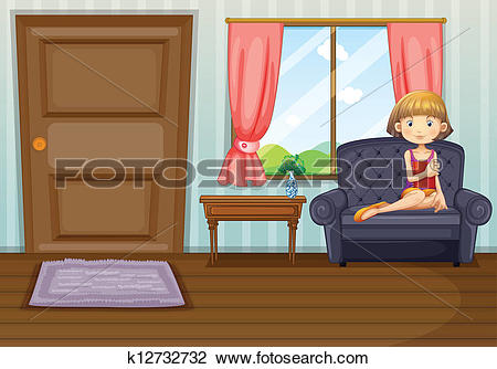 Clipart of A girl in the living room k12732732.
