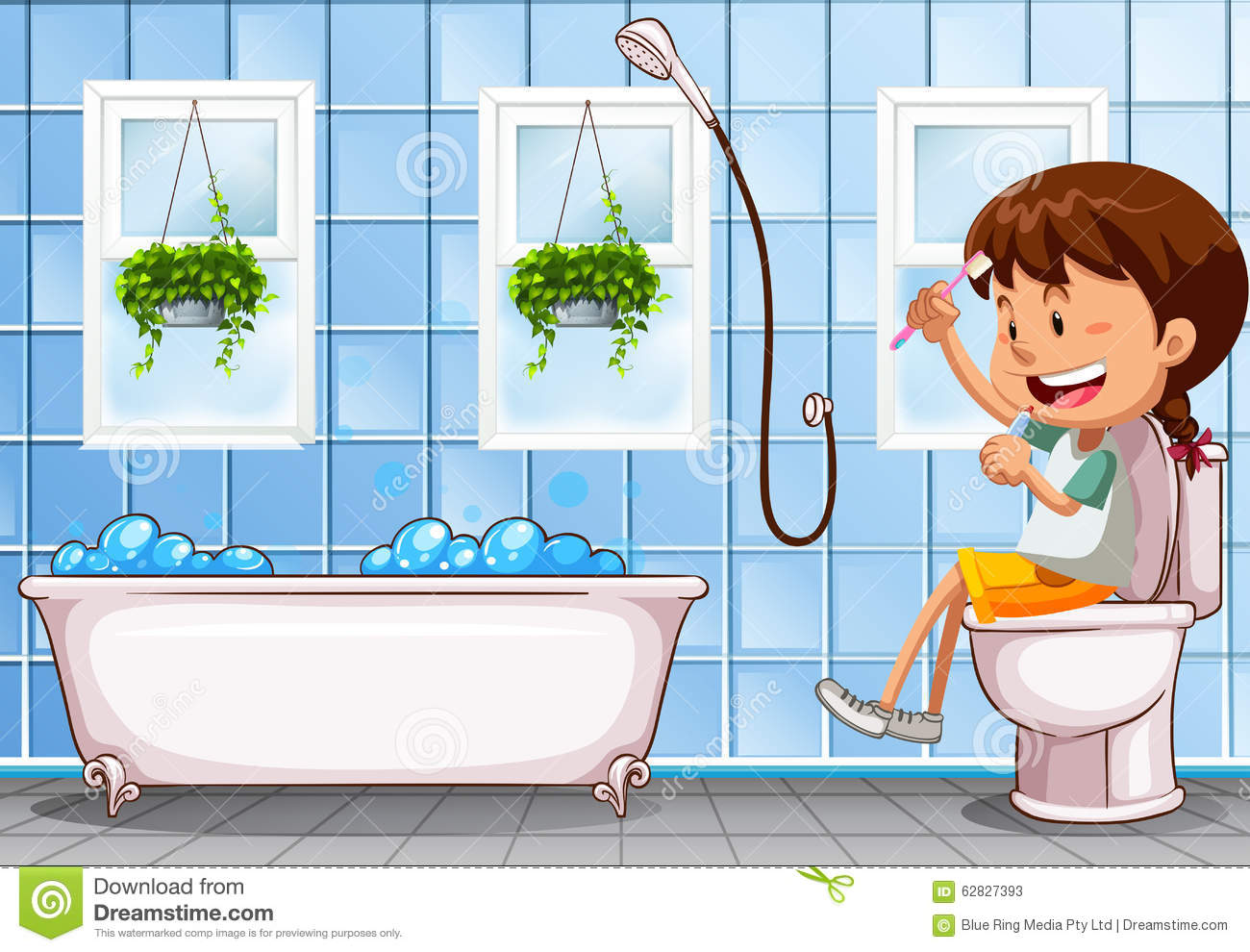 Girl Sitting On Toilet In Bathroom Stock Vector.
