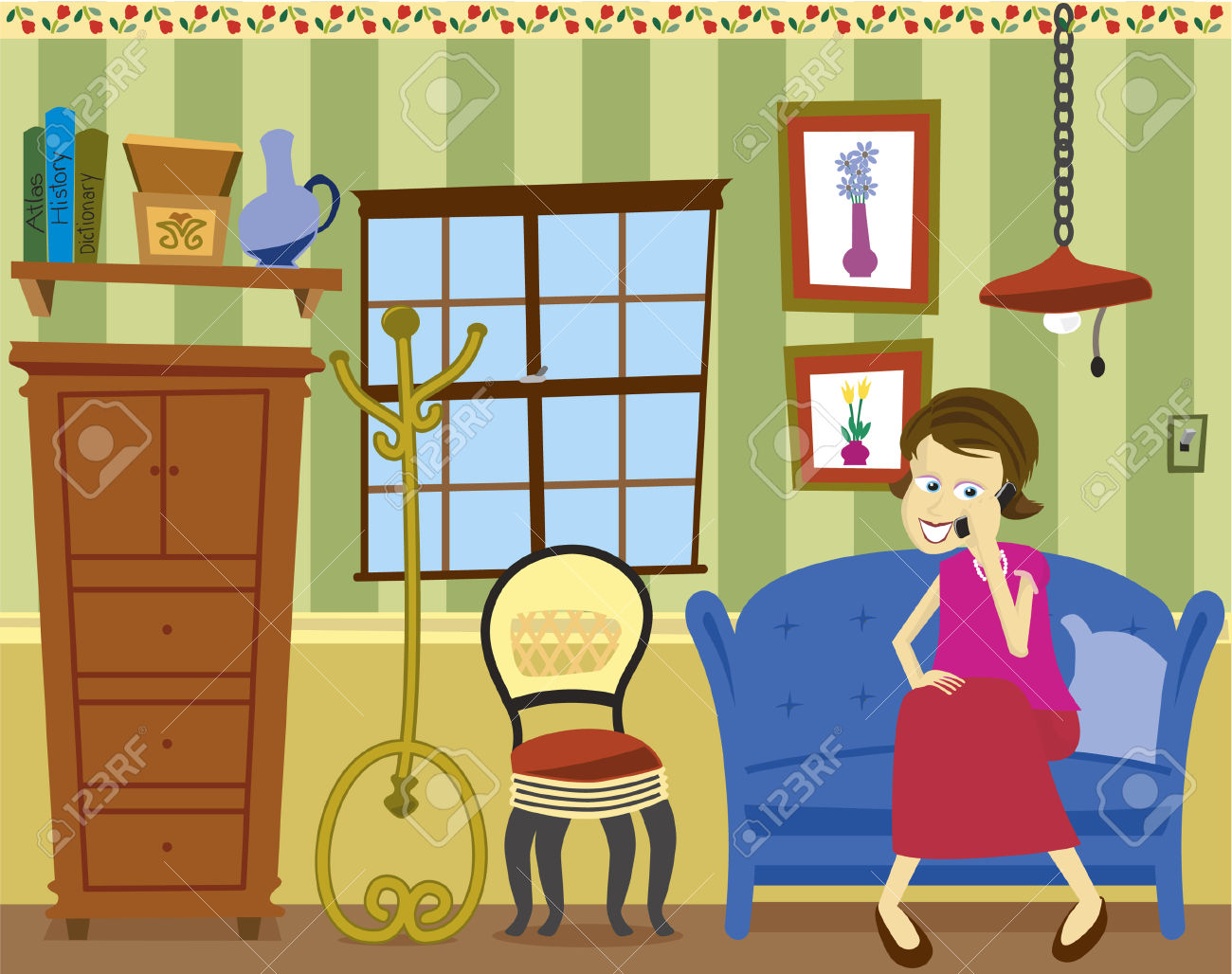 Vector Illustration Of A Girl Sitting On A Sofa Talking On A.