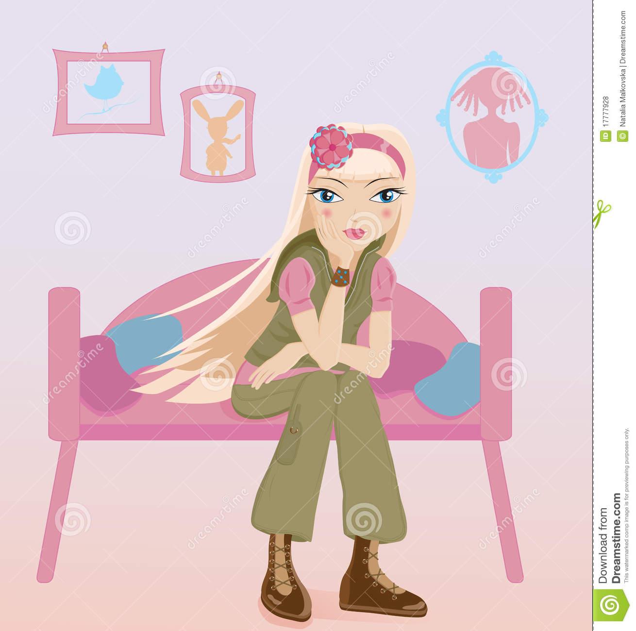 Child Sitting Alone Thinking Stock Illustrations.
