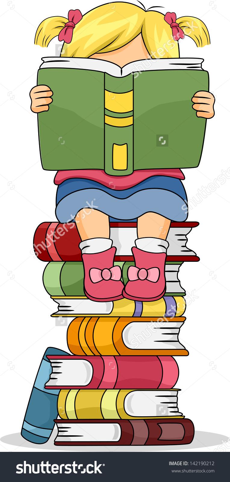 Girl Sitting On Books Clipart.