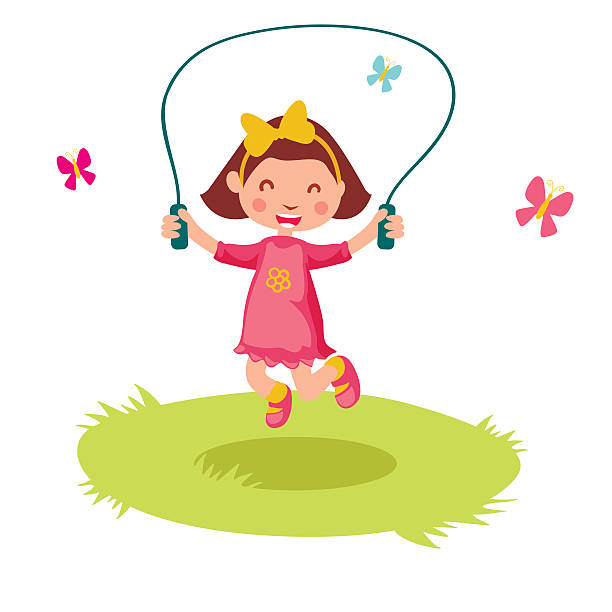 Little cartoon girl skipping rope. Vector illustration. » Clipart.