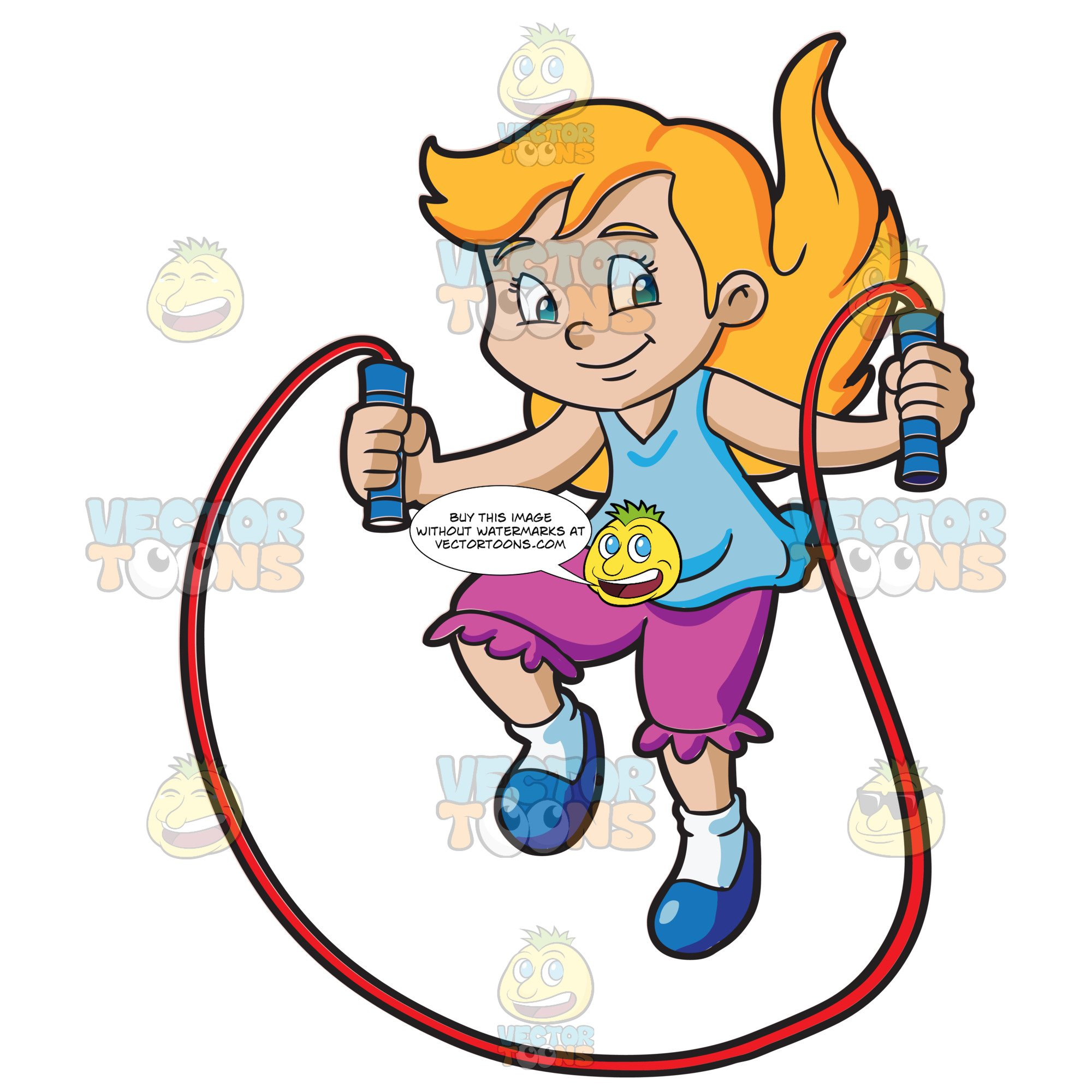 A Young Girl Skipping Rope.