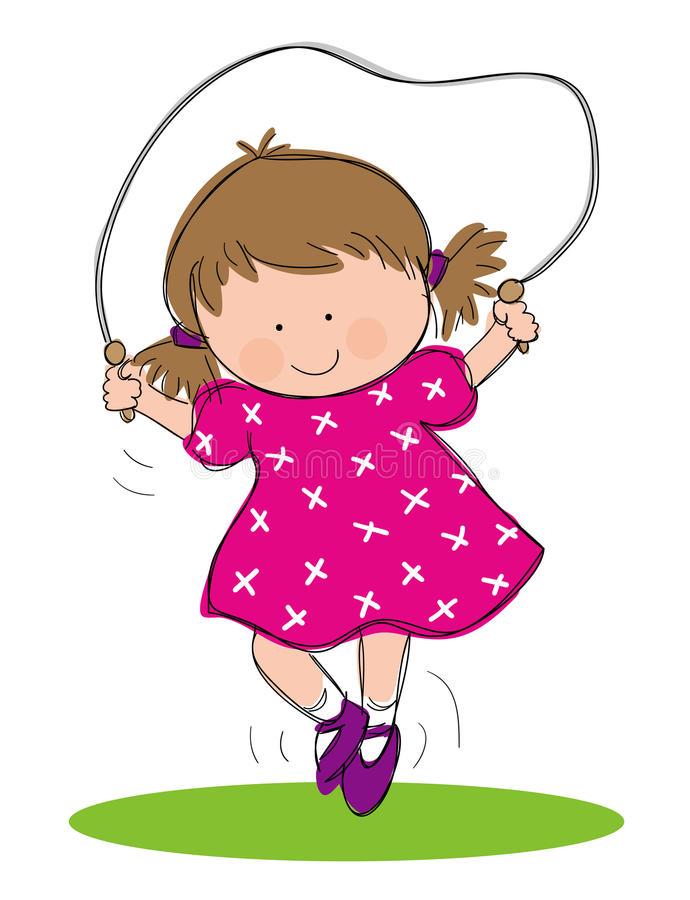 Girl Skipping Stock Illustrations.