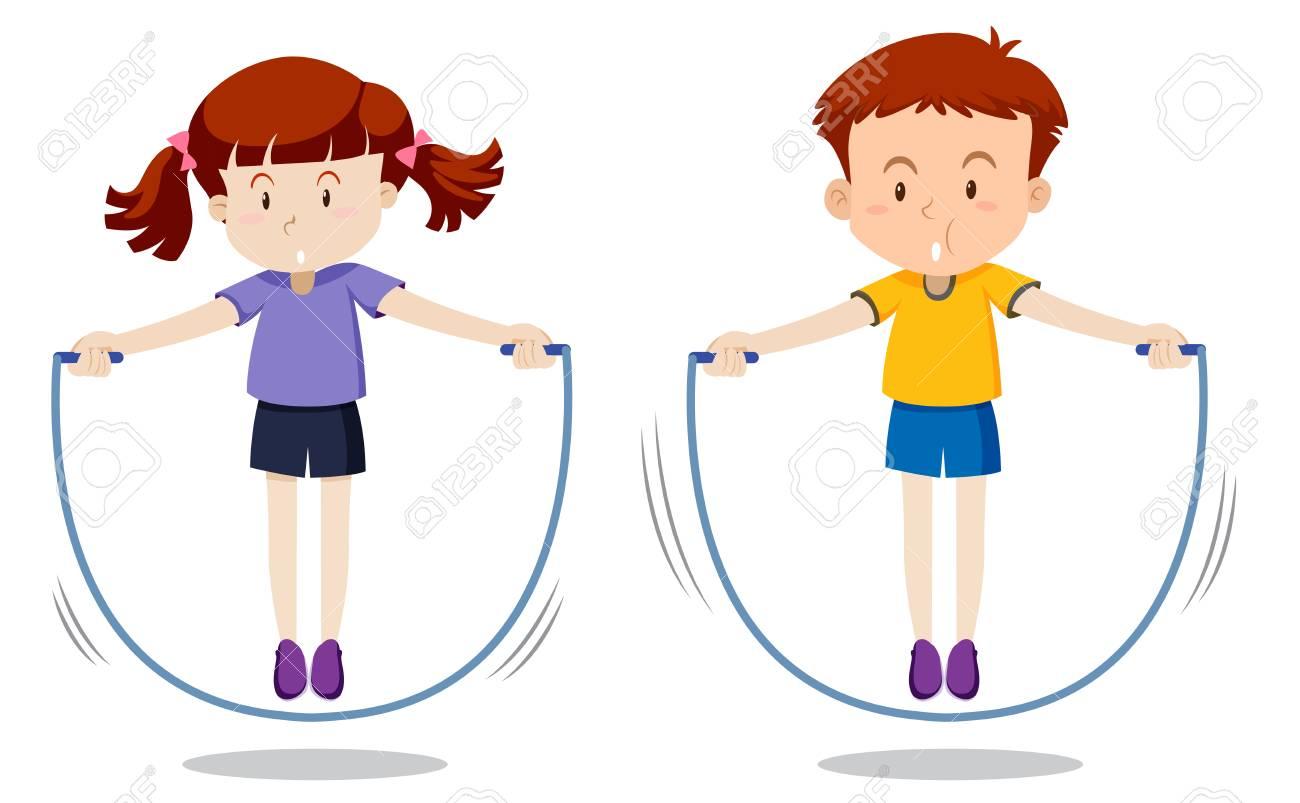 Boy and girl skipping illustration.