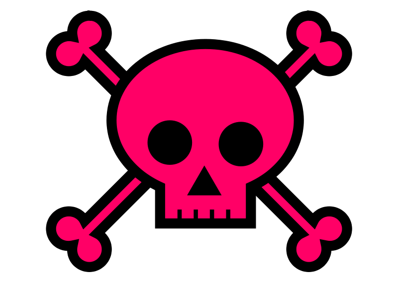 Free Clipart: Skull and Crossbones Large Pink.