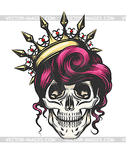 Female Skull in Crown.