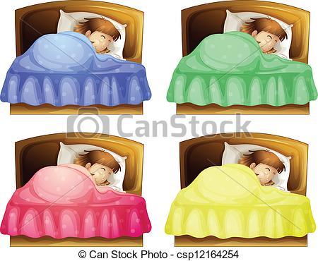Clipart Vector of A sleeping girl on a bed.