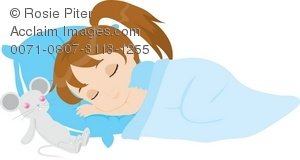 Royalty Free Clipart Illustration of a Little Girl Sleeping With.