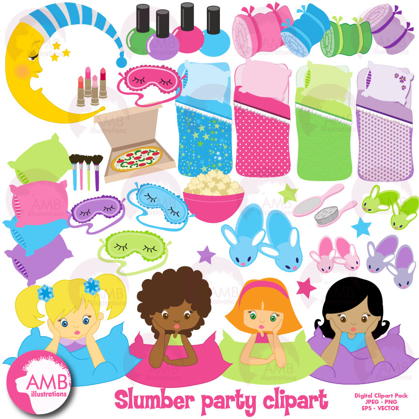 Slumber party Clipart, Sleep over Clipart, Girls Spa Night Clipart.