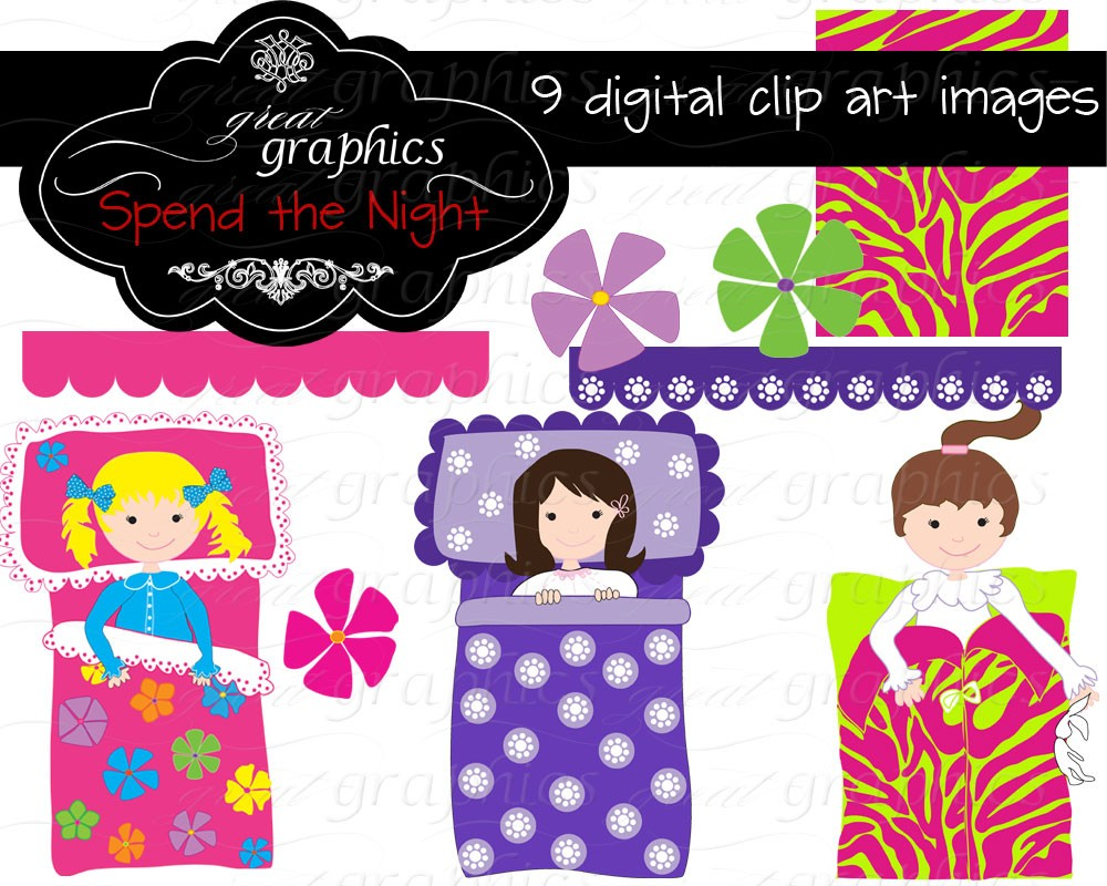 Slumber Party Clipart Girl.