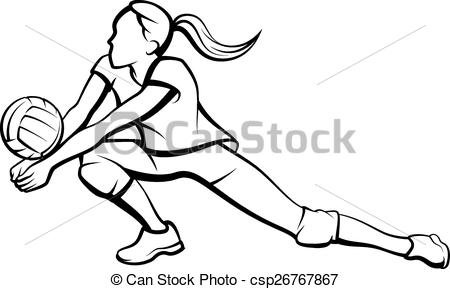 Clip Art Vector of Volleyball Dig Girl.