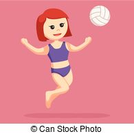 EPS Vector of girl volleyball smashing ball csp39390847.