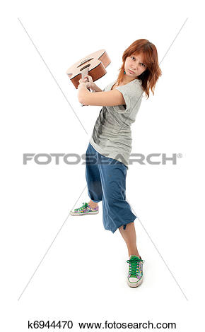 Stock Photography of Girl smashing a guitar k6944470.