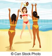 EPS Vectors of volley beach girl smashing csp41994694.