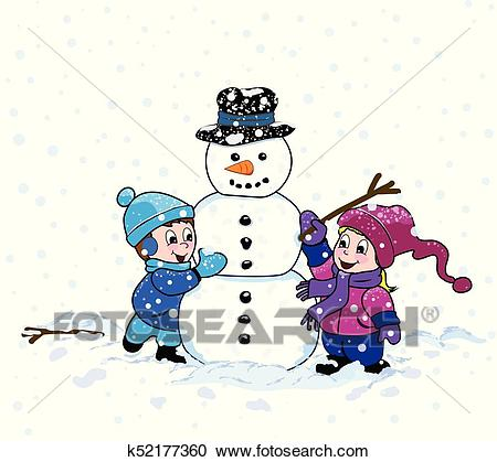 Boy and Girl make a Snowman Clipart.