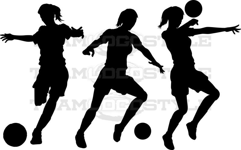 Soccer Clipart Girls Silhouette.