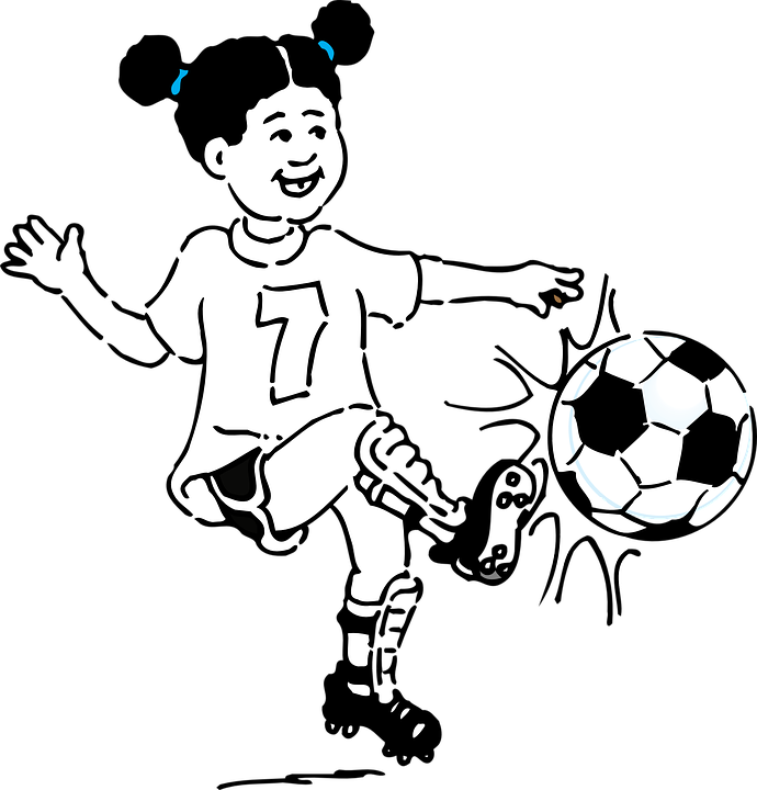Free vector graphic: Girl, Football, Kicking, Soccer.