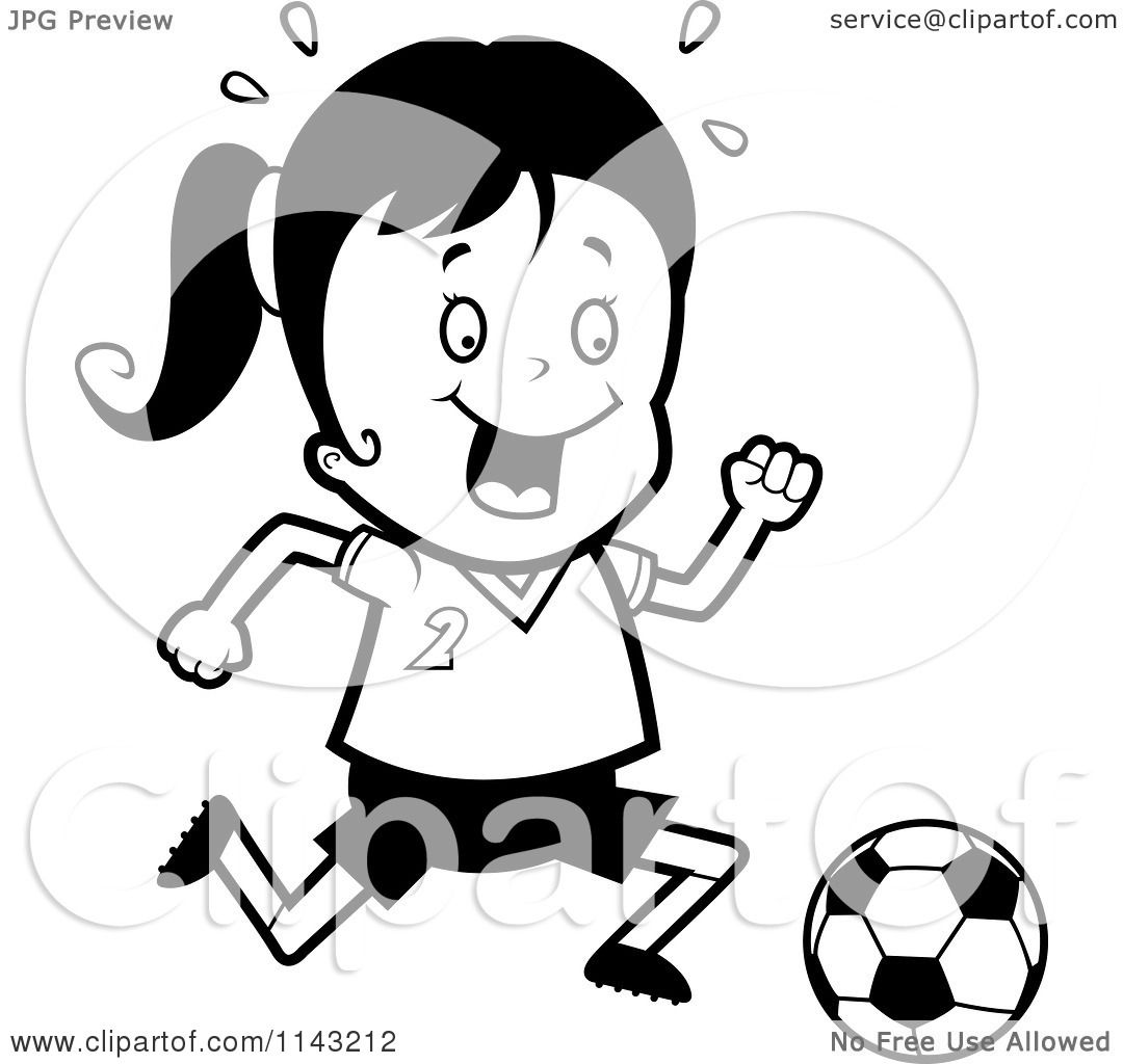 Cartoon Clipart Of A Black And White Soccer Girl Running After A.