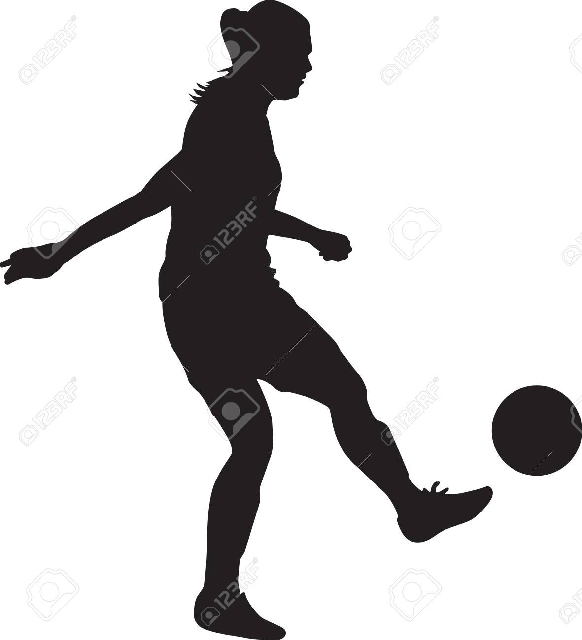 girl soccer player silhouette.