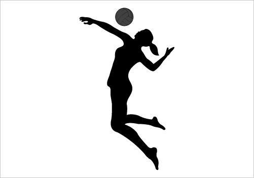 Girl Spiking Volleyball Clipart.