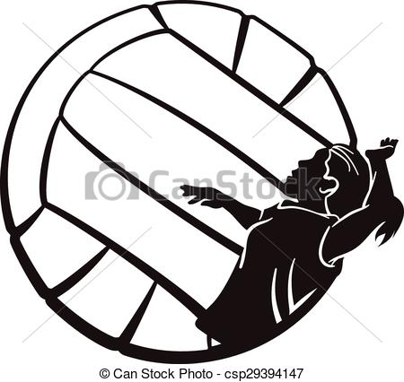 EPS Vector of Volleyball Girl Spiking.