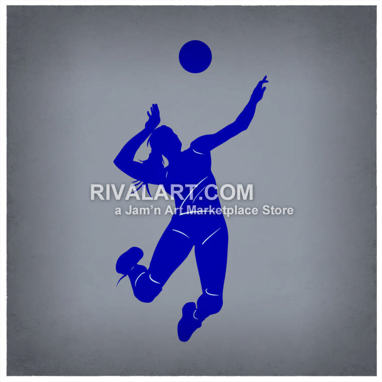 Girls Beach Volleyball Player Spiking Silhouette.