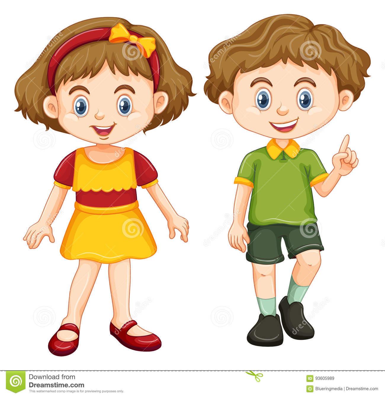 Happy Boy And Girl Standing Stock Vector.
