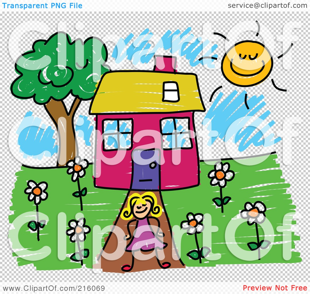 Girl Standing In Front Of House Clipart.