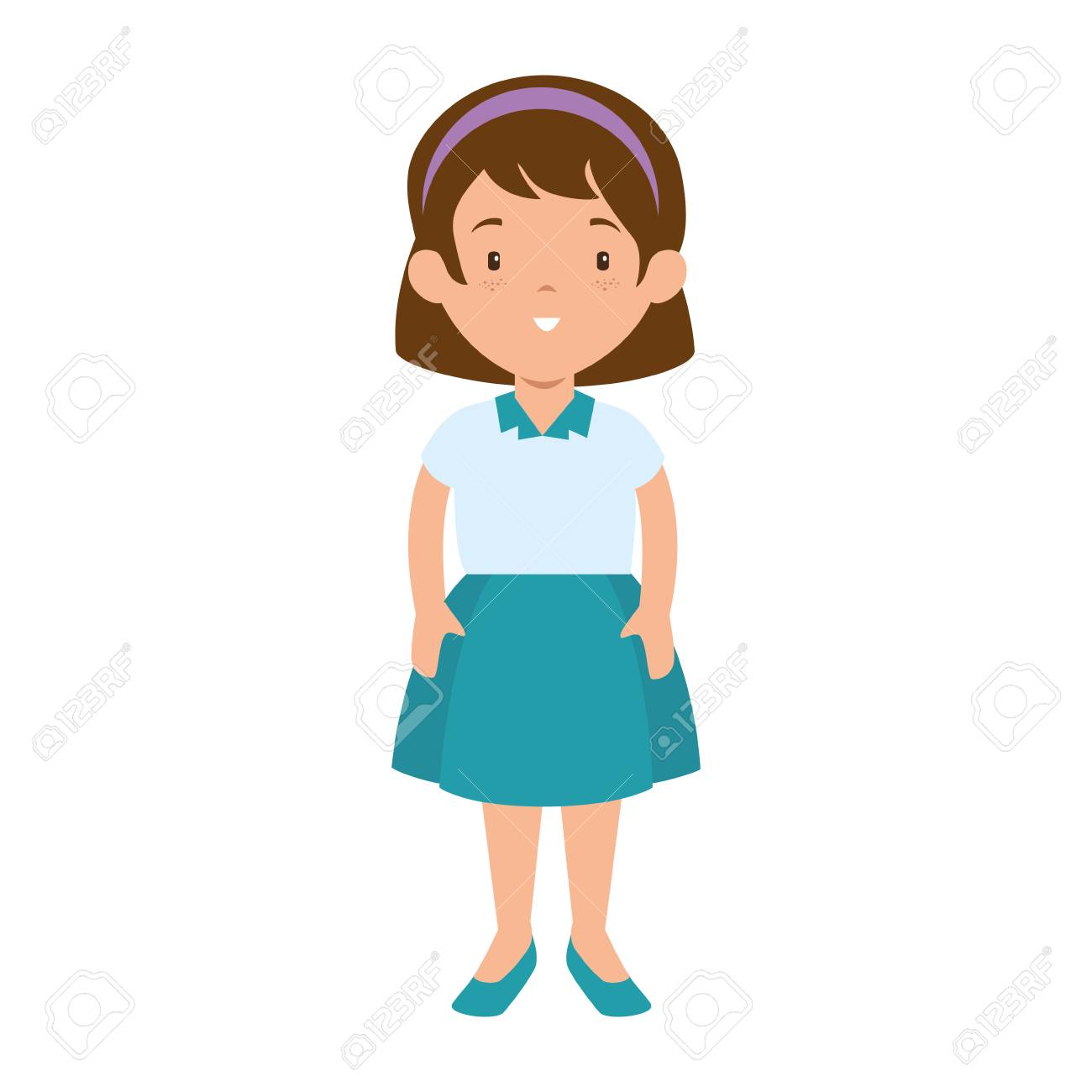 little girl student with uniform character vector illustration...