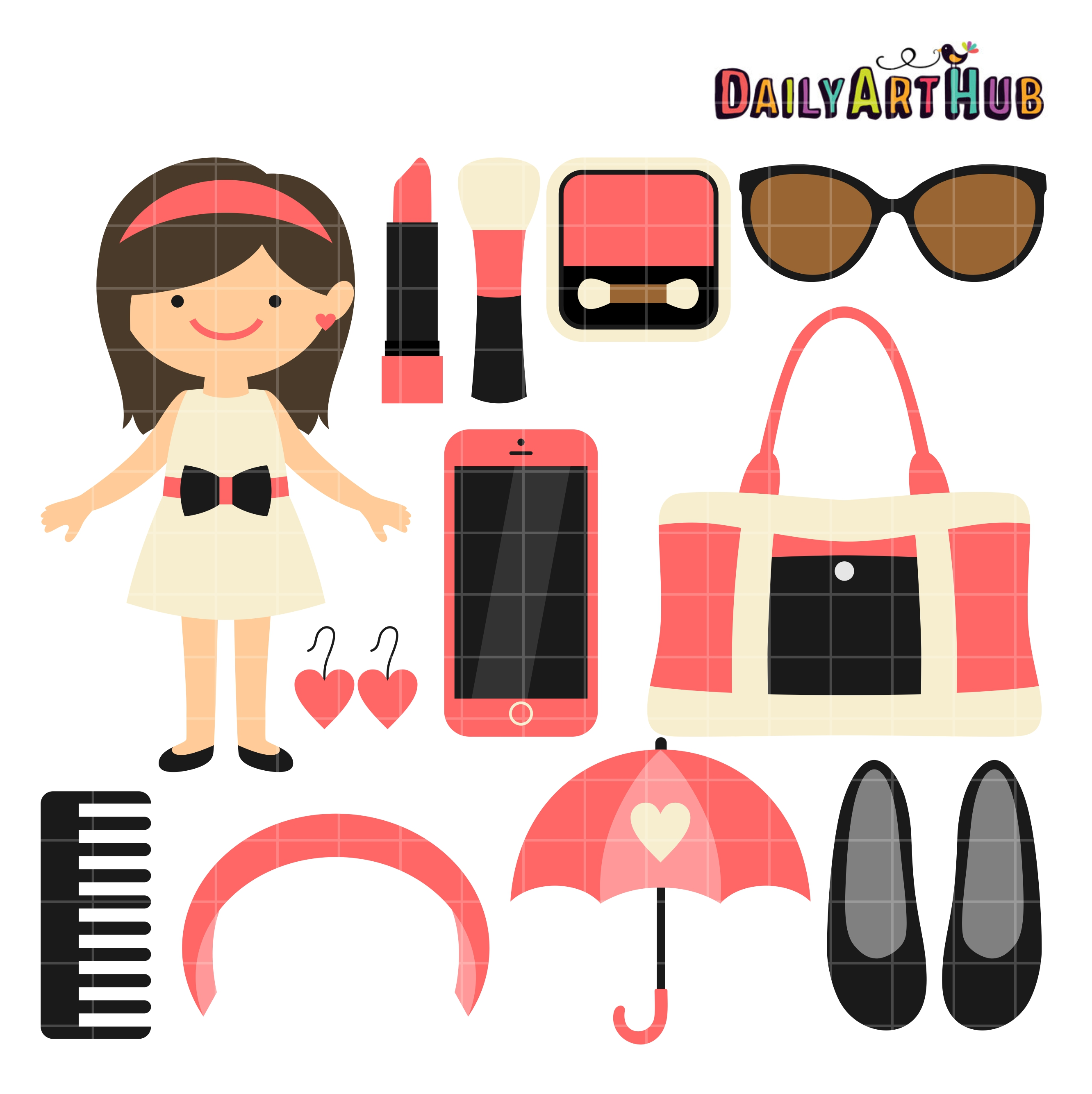 Girl Things #2 Clip Art Set.