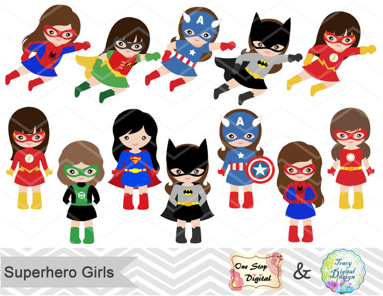 24 Little Girl Superheros Digital Clip Art, Girls Superhero.