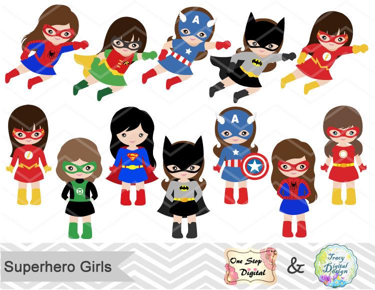 24 Little Girl Superheros Digital Clip Art, Girls Superhero.