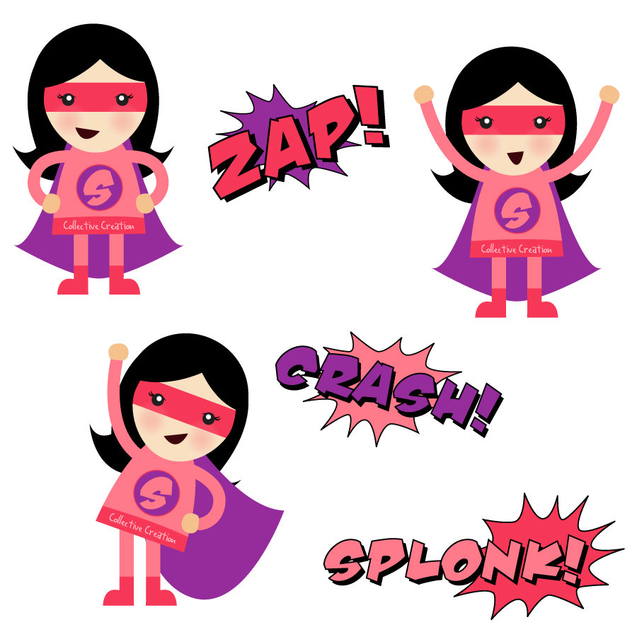 Girl Super Hero Clip Art.