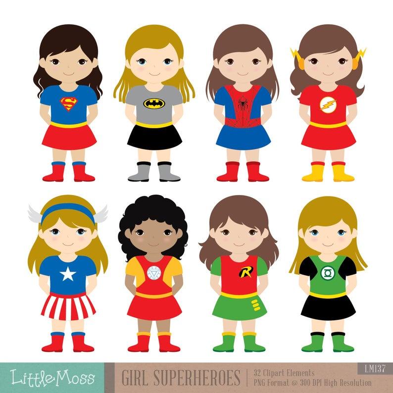 Girls Superhero Costumes Clipart 1, Girl Superheroes, Superheroes Clipart,  Women Superheroes.